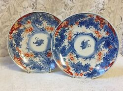 Japanese Meiji Pair Of Butterfly Plates, Hand Painted To Front And Back