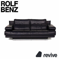 Rolf Benz 6500 Leather Sofa Blue Two Seater Dark Blue
