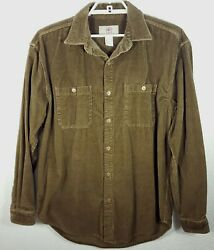 Menand039s The Territory Ahead Brown Corduroy Shirt Front Pockets Cotton Size L