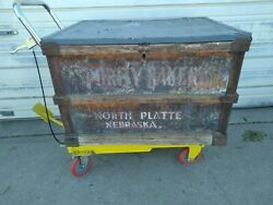 Antique Wood Galvanized Lid Purdy Bakery Advertising Crate Box Train Delivered