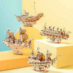 Diy Vintage Sailing Ship 3d Model Wood Puzzle Game Assembly Boat Teens Adult Toy
