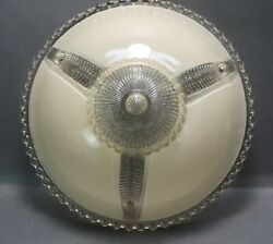 Vintage Art Deco Frostedandnbsp White Glass With Clear 11 Ceiling Light Shade 3 Hole