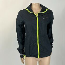 Nike Women's Shirt S 618991-100 Impossibly Light Running Jacket Black And Neon O10