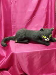 Large Antique Paper Mache Halloween Black Cat 24andtimes7 Yellow And Green Eyes @look@