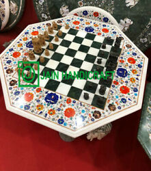 30and039and039 White Marble Chess Table Top Pietra Dura Inlay Children Game Kids F3
