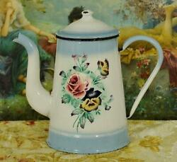 Sublime Antique French Enamelware Cafetiere / Coffee Pot, Pink Roses And Pansies