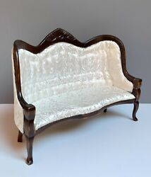 112 Victorian Dollhouse Miniature Furniture Wooden Upholstered Settee Mint