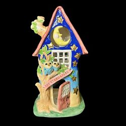 Blue Sky Clayworks House The Stargazers Owls Moon By Heather Goldminc New 11.5andrdquo