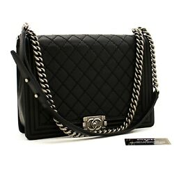 Boy Chain Shoulder Bag Black Quilted Flap Leather Crossbody A65