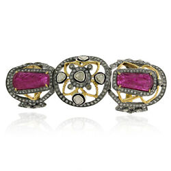 Carved Flower Ruby Long Knuckle Ring Diamond 925 Silver 18k Gold Jewelry
