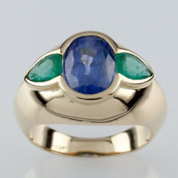 Natural Sapphire And Emerald 18k Yellow Gold Ring W/ Gia Cert Size 5