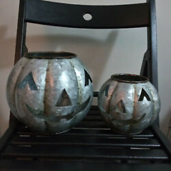 Pottery Barn Galvanized Halloween Rustic Candle Holder Sold Out Mini And Small