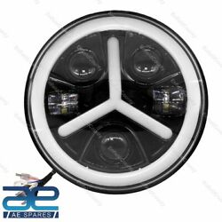 7 Inch Full Ring Round White Led Headlight Fits For Royal Enfield Jeeps Ecs