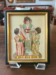 1890and039s Advertising Chewing Gum Lithographchiclets Sen Senframed 7.25 X 9
