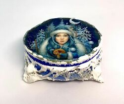Russian Lacquer Box. Snow Maiden. Hand Painted.