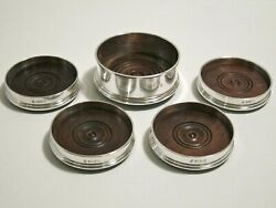 Vintage Sterling Silver 5 Pc Set Wine Bottle And Glass Coasters London 1990