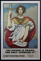 1917 The Sword Is Drawn The Navy Upholds It Poster Kenyon Cox Wwi Linen Original