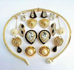 8 Vintage Gold Tone Jewelry Earring Lot Kate Spade Claiborne 1 Modern