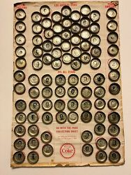 1964 Coke Los Angeles Rams Bottle Caps Complete Set With All-stars On Sheet Rare
