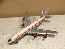 Vintage 1960's Line Mar Toys-japan Tin Litho Boeing 707 Battery Operated Toy Jet