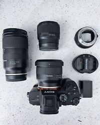 Sony A7 Iii With 3 Lenses, 2 Batteries, And Sigma Mc-11 Ef To Fe Adapter