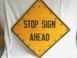 Stop Sign Ahead--yellow Road Street Sign With Cat-eye Reflectors