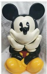 Vtg 80's Walt Disney Xl Talking Mickey Mouse Cookie Jar Container 13.5x9 Rare