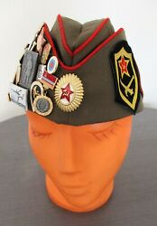 Vintage Russian Military Pilotka Hat With Collection Of 40 Badges