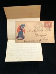 Ny New York 1862 Civil War Patriotic Cover 65 Liberty And Flag Interesting Letter