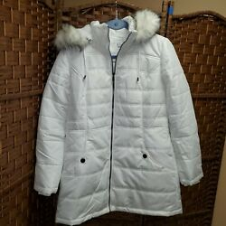 Susan Graver Water Resistant Quilted Puffer Jacket With Removable Hood White Xs