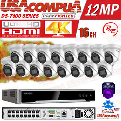 Hikvision 16ch 16poe Nvr 4mp Full Color Mic Ip Camera Cctv Security System Lot