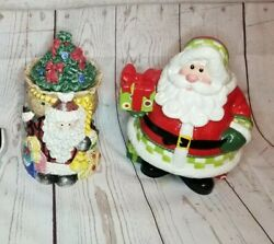 Lot Of 2 Fitz And Floyd Santa Claus Cookie Jars Collectible Holiday Decor
