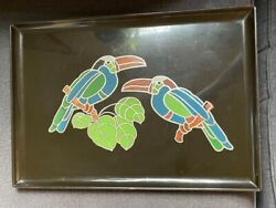 Vintage Couroc Of Monterey Two Toucans Birds Inlay Rectangle Tray Midcentury