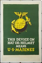 1918 This Device On Hat Or Helmet Means U.s. Marines Poster Usmc Wwi Original