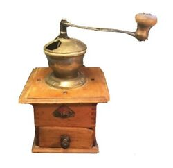 Antique Pede Dienes Coffee Grinder Rare Well And Cover Design Great Patina C.1920s