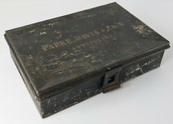 Antique Toleware Painted Metal Parke Davis And Co.and039s Antitoxins Painted Box
