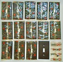 14 Single Light Switch Plates Brown Textured Metal Wallplate Covers New Vintage