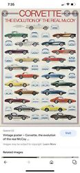 Vintage Corvette Poster Evolution Of The Real Mccoy -1953 - 1976 25andrdquox38 New