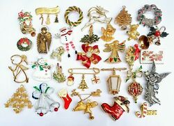 32 Pc Vintage Gold Silver Tone Christmas Brooch Lot Angels Trees Wreaths