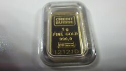 1 Gram Gold Bar Sealed Ceritfied By Credit Suisse .999.9 Pure