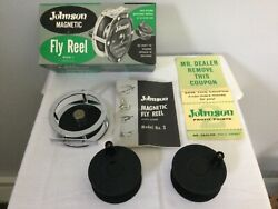 Vintage Johnson Magnetic Model 3 Fly Fishing Reel Extra Spool And Box New In Box