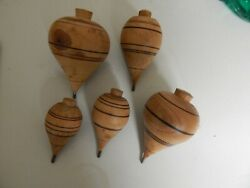 Vintage Wooden Spinning Top Toy Wood W/metal Tip Original - Clear Finish