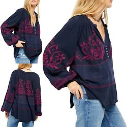 New Free People Persuasion Embroidered Navy Blue Button Peasant 128 Size Small