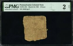 Pennsylvania Colonial Currency Fr Pa-134 March 10 1769 3d Pmg 2 Only 5 Known