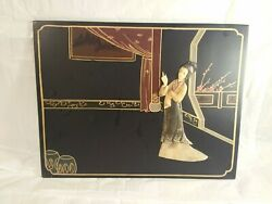 Japanese Hand Carved Picture Free Shipping Stone Inlay Vintage