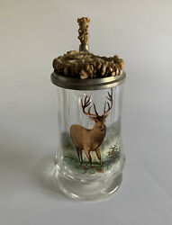 Collectible Stag Horn And Glass Beer Stein