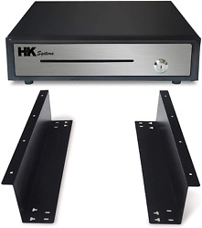 16 Heavy Duty Black Open Cash Drawer With Under Counter Mounting Metal Bracket