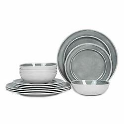 Melamine Dinnerware Set - 12pcs Dishes Dinnerware Set For 4 Indoor And Outdoo...