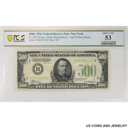 1934 500 Federal Reserve Note Fr. 2201-b New York Pcgs 53 About Unc