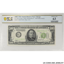 1934 500 Federal Reserve Note Fr. 2201-g Chicago Pcgs 63 Choice Unc